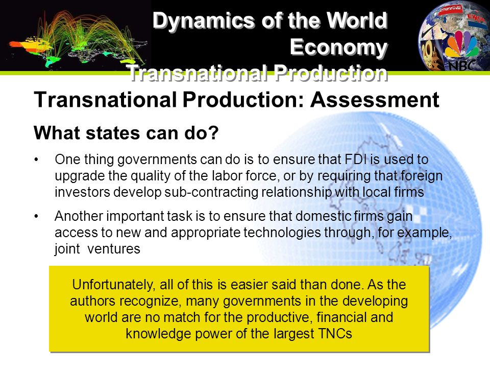 Transnational Production: Assessment What states can do.