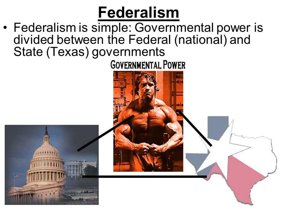 Federalism Federalism is simple: Governmental power is divided between the Federal (national) and State (Texas) governments