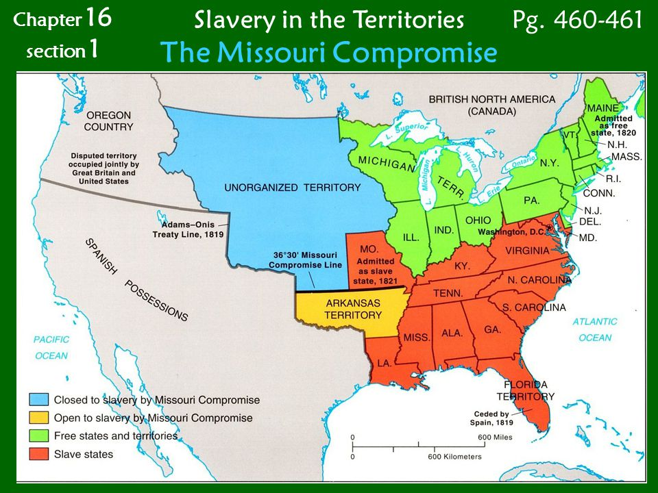 a Chapter 16 section 1 Slavery in the Territories The Missouri Compromise Pg. 460-461