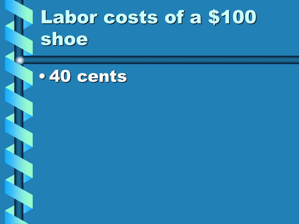 Labor costs of a $100 shoe 40 cents40 cents