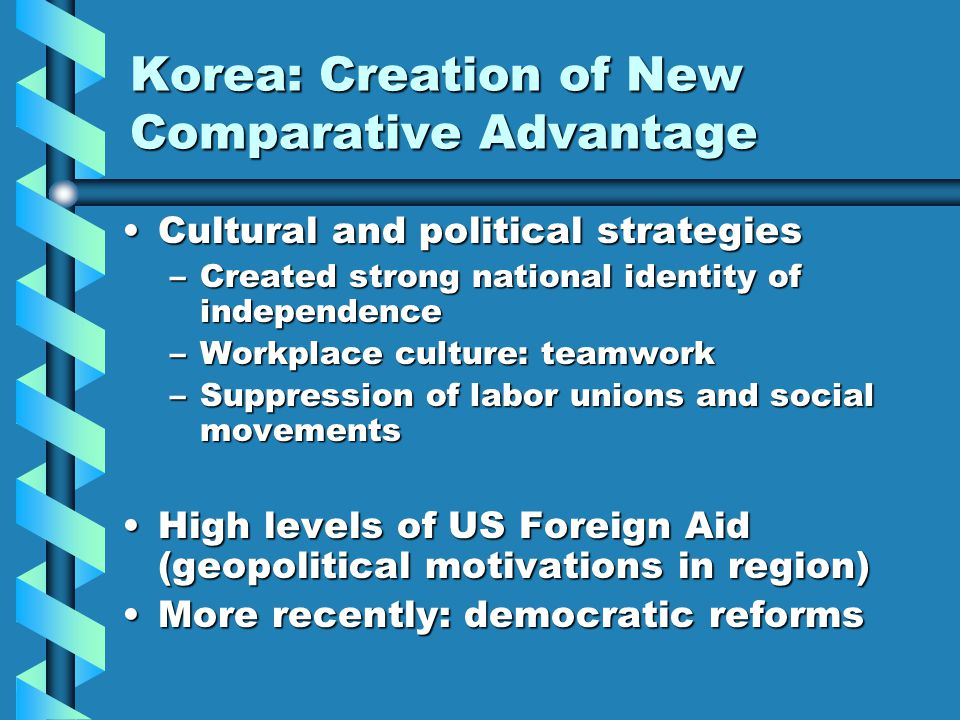 Korea: Creation of New Comparative Advantage Cultural and political strategiesCultural and political strategies –Created strong national identity of independence –Workplace culture: teamwork –Suppression of labor unions and social movements High levels of US Foreign Aid (geopolitical motivations in region)High levels of US Foreign Aid (geopolitical motivations in region) More recently: democratic reformsMore recently: democratic reforms