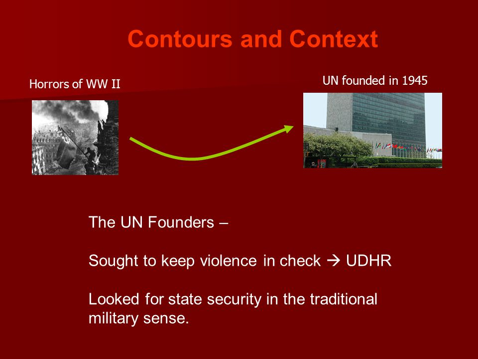 Contours and Context UN founded in 1945 Horrors of WW II The UN Founders – Sought to keep violence in check  UDHR Looked for state security in the traditional military sense.