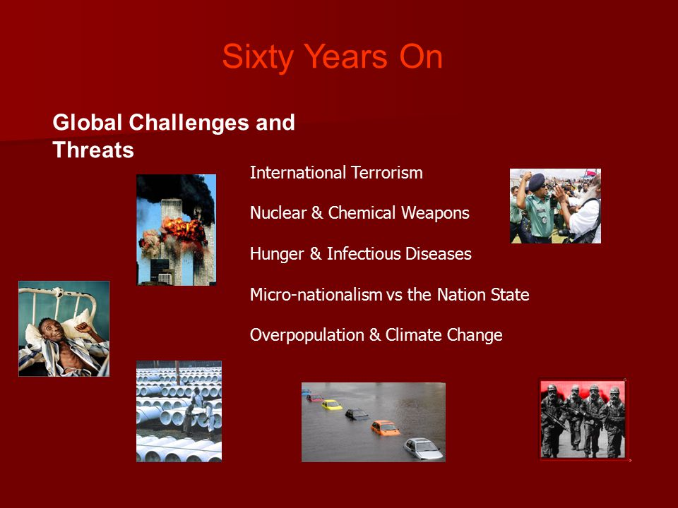 Global Challenges and Threats International Terrorism Nuclear & Chemical Weapons Hunger & Infectious Diseases Micro-nationalism vs the Nation State Overpopulation & Climate Change Sixty Years On