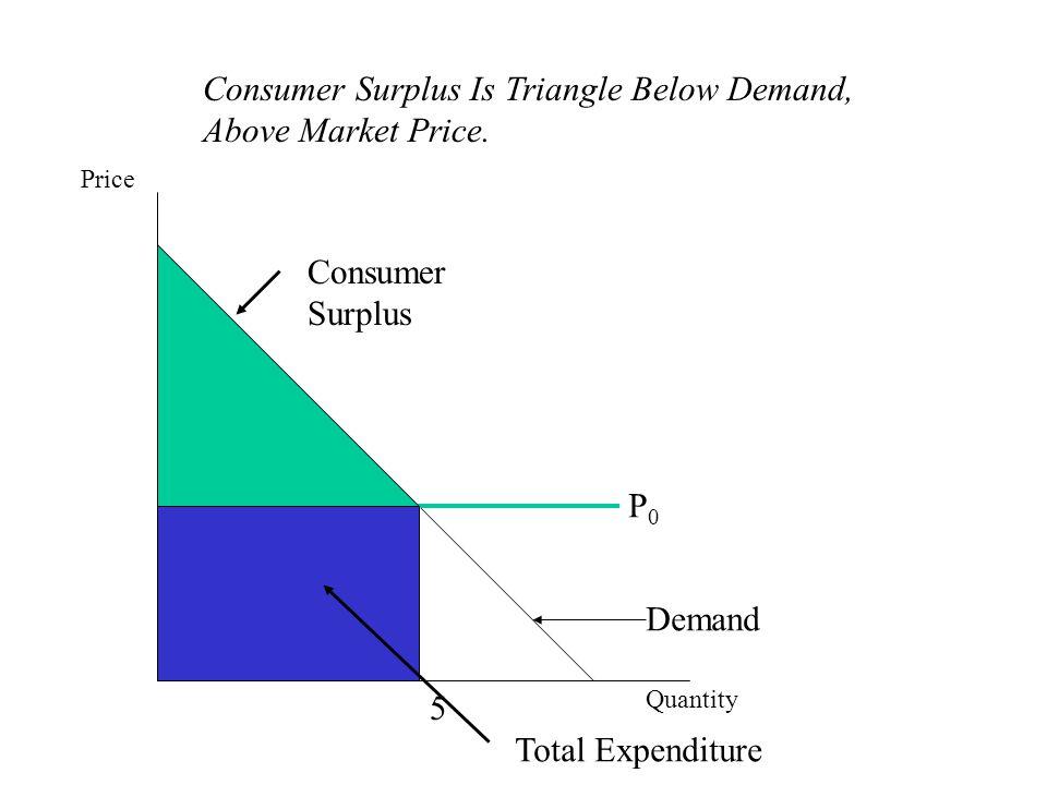 Price Quantity P0P0 Demand 5 Consumer Surplus Total Expenditure Consumer Surplus Is Triangle Below Demand, Above Market Price.