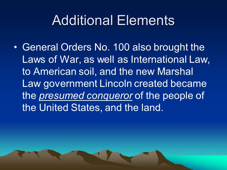 Additional Elements General Orders No.