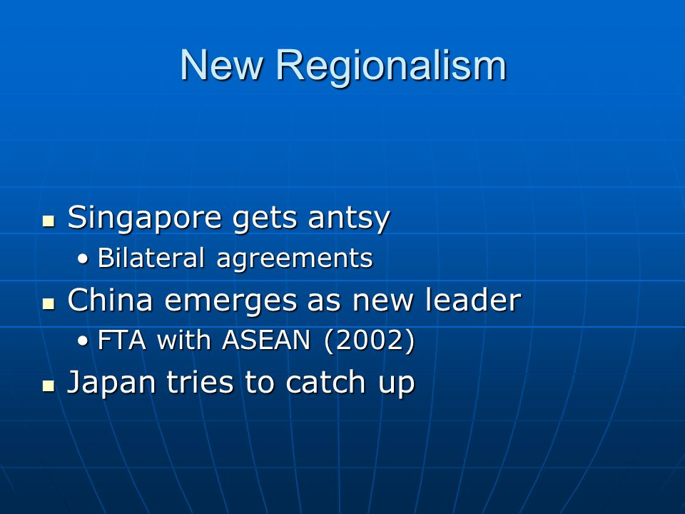 New Regionalism Singapore gets antsy Singapore gets antsy Bilateral agreementsBilateral agreements China emerges as new leader China emerges as new le