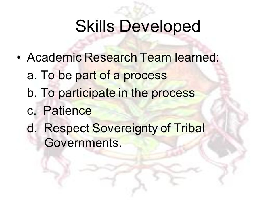 Skills Developed Academic Research Team learned: a.