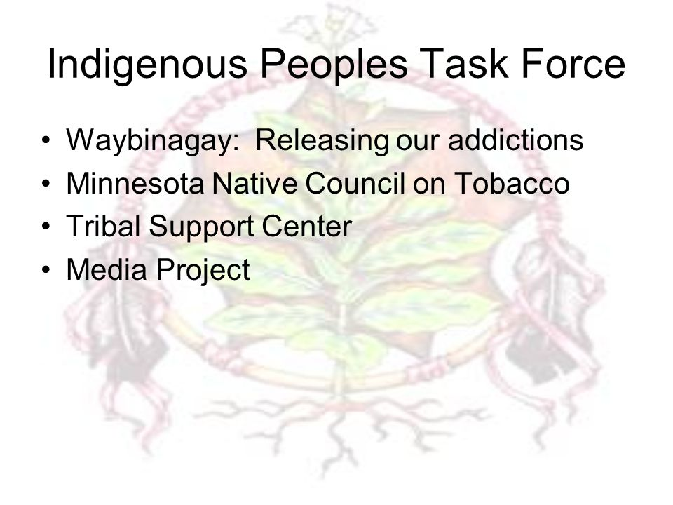 Indigenous Peoples Task Force Waybinagay: Releasing our addictions Minnesota Native Council on Tobacco Tribal Support Center Media Project
