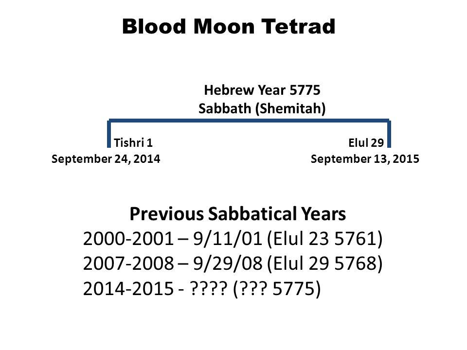 Blood Moon Tetrad Previous Sabbatical Years 2000-2001 – 9/11/01 (Elul 23 5761) 2007-2008 – 9/29/08 (Elul 29 5768) 2014-2015 - ???? (??? 5775) Septembe