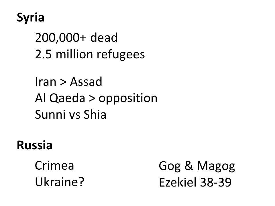 Syria 200,000+ dead 2.5 million refugees Iran > Assad Al Qaeda > opposition Sunni vs Shia Russia Crimea Ukraine? Gog & Magog Ezekiel 38-39