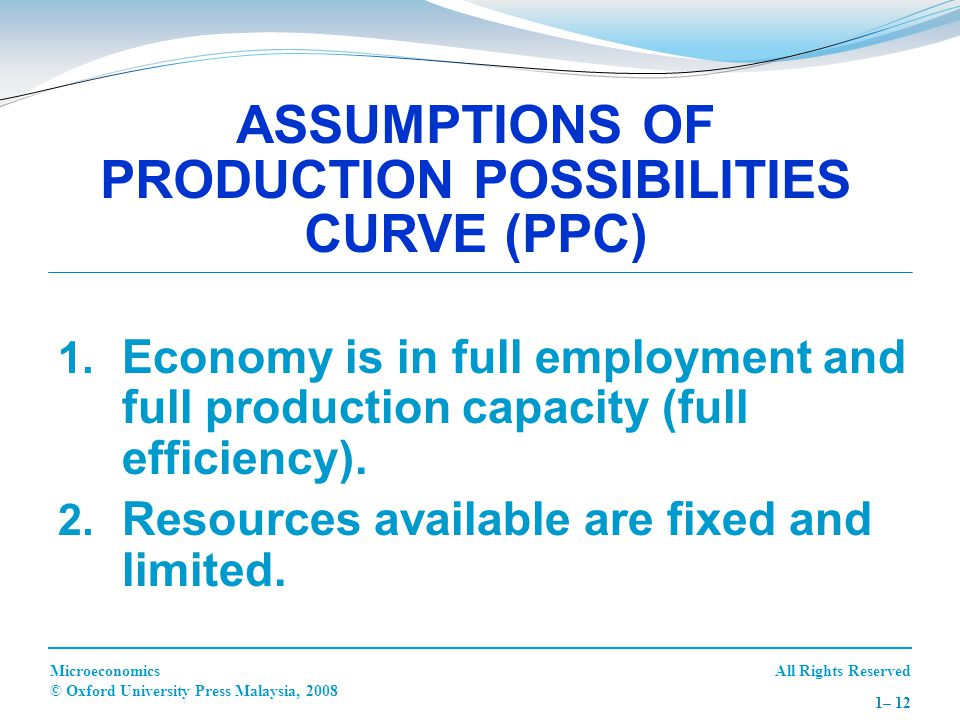All Rights ReservedMicroeconomics © Oxford University Press Malaysia, 2008 1– 12  Economy is in full employment and full production capacity (full e