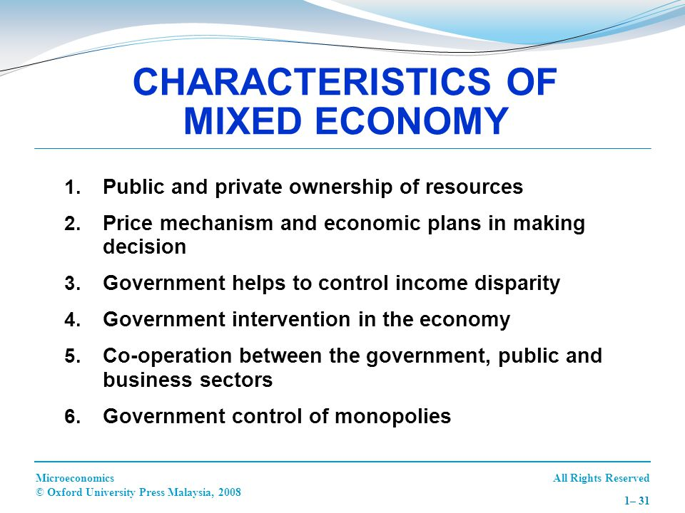 All Rights ReservedMicroeconomics © Oxford University Press Malaysia, 2008 1– 31 1. Public and private ownership of resources 2. Price mechanism and e