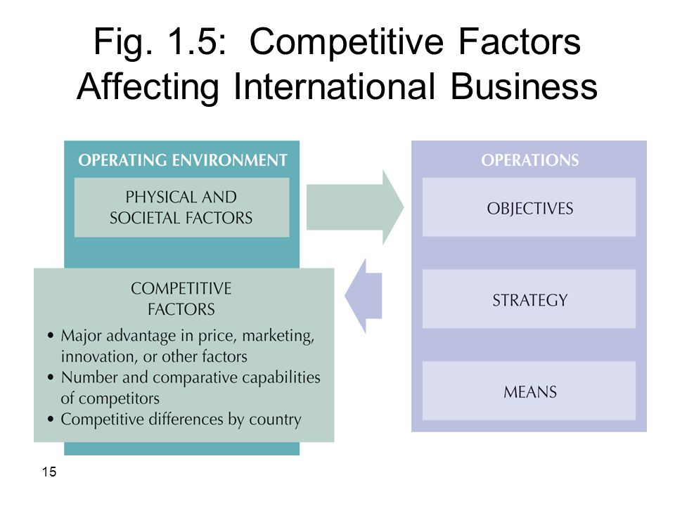 15 Fig. 1.5: Competitive Factors Affecting International Business
