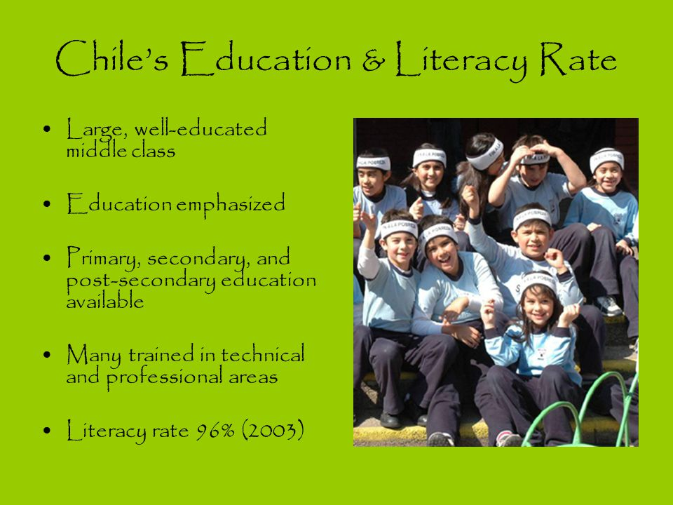 Chile's Education & Literacy Rate Large, well-educated middle class Education emphasized Primary, secondary, and post-secondary education available Many trained in technical and professional areas Literacy rate 96% (2003)