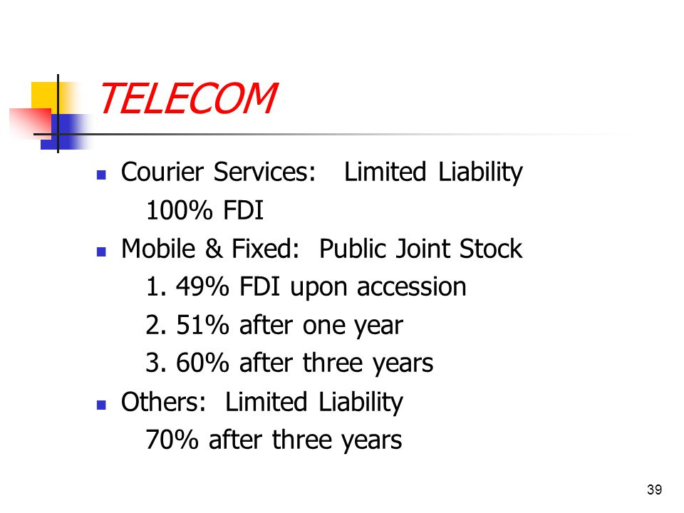39 TELECOM Courier Services: Limited Liability 100% FDI Mobile & Fixed: Public Joint Stock 1. 49% FDI upon accession 2. 51% after one year 3. 60% afte