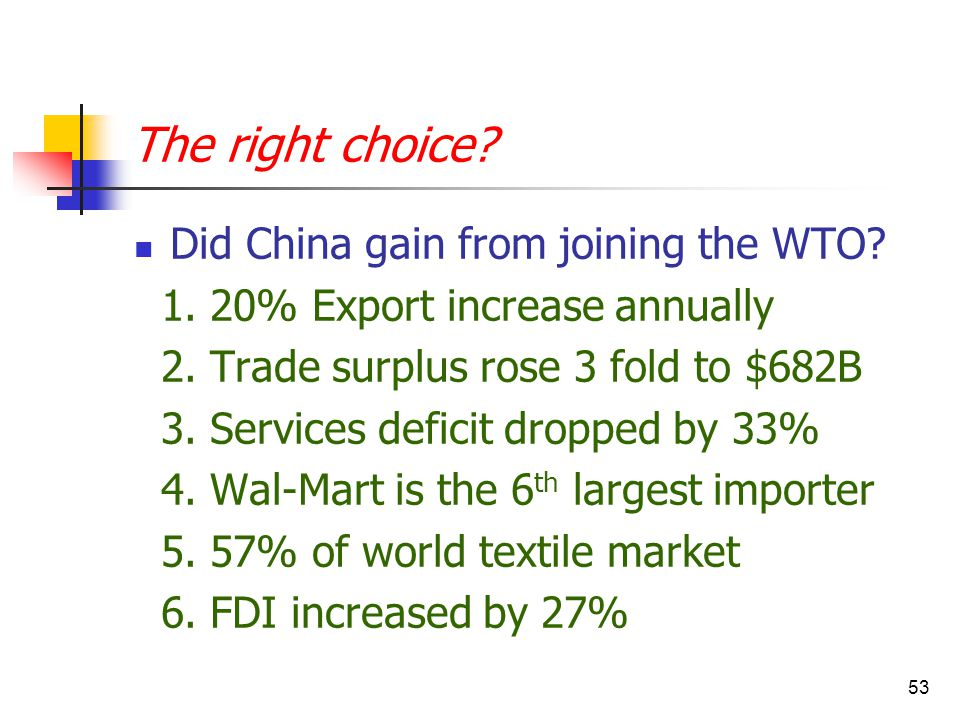 53 The right choice. Did China gain from joining the WTO.