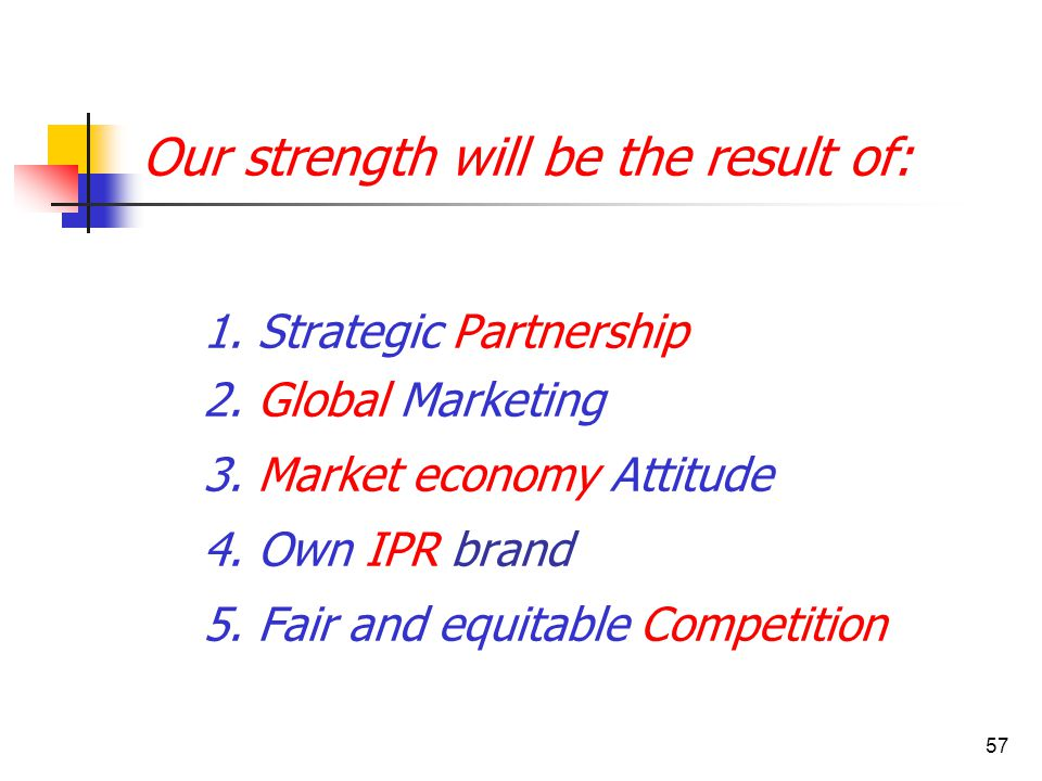 57 Our strength will be the result of: 1. Strategic Partnership 2. Global Marketing 3. Market economy Attitude 4. Own IPR brand 5. Fair and equitable