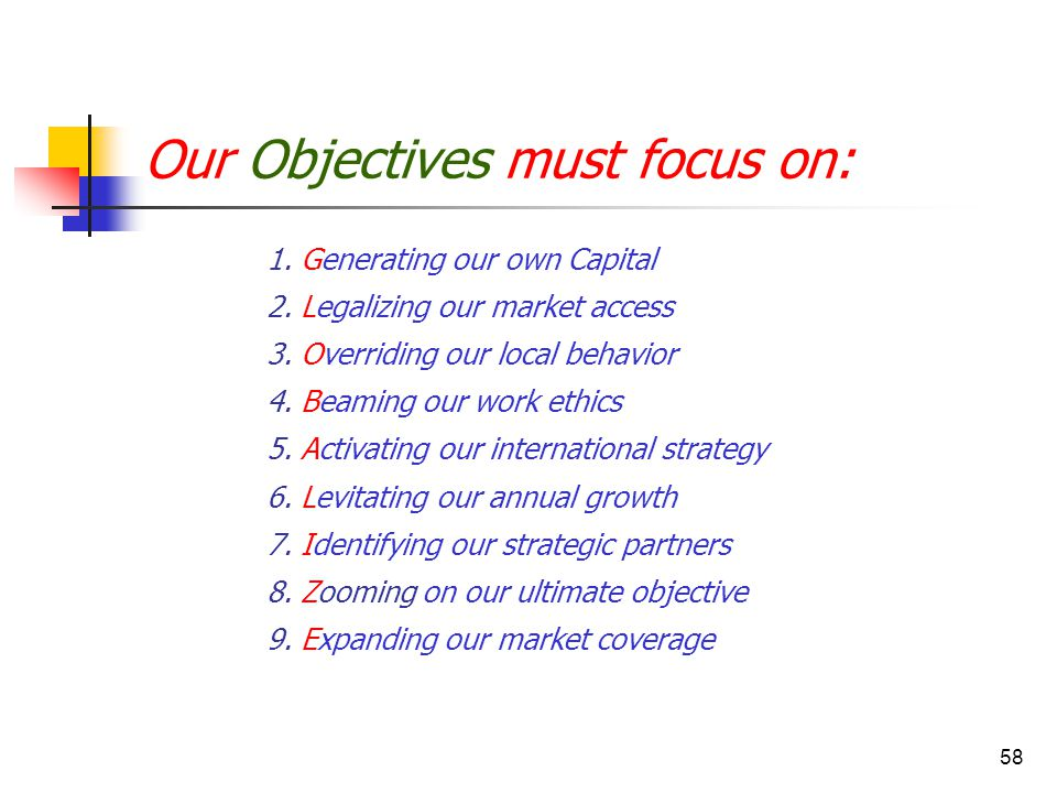 58 Our Objectives must focus on: 1. Generating our own Capital 2. Legalizing our market access 3. Overriding our local behavior 4. Beaming our work et