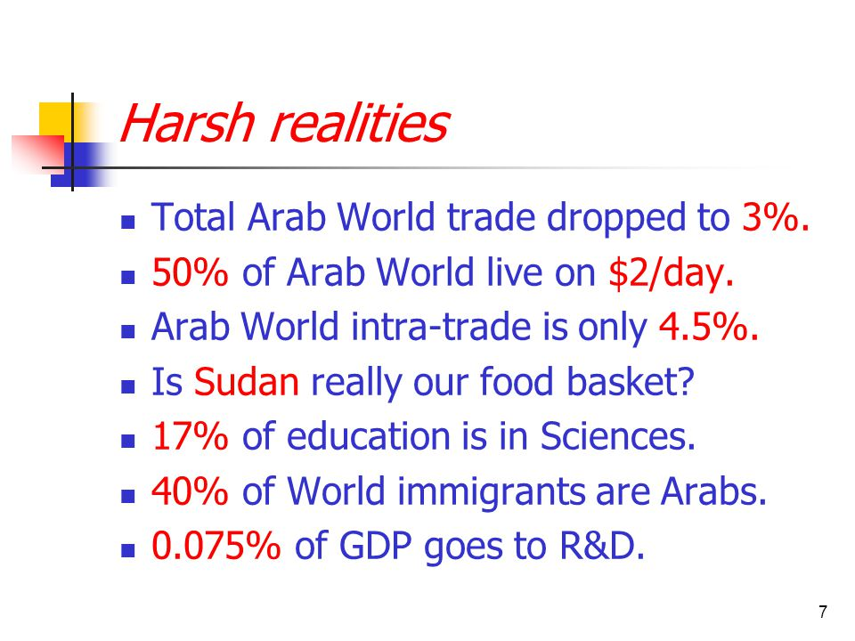 7 Harsh realities Total Arab World trade dropped to 3%. 50% of Arab World live on $2/day. Arab World intra-trade is only 4.5%. Is Sudan really our foo