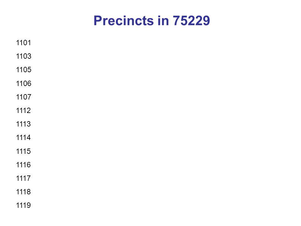 Precincts in 75229 1101 1103 1105 1106 1107 1112 1113 1114 1115 1116 1117 1118 1119