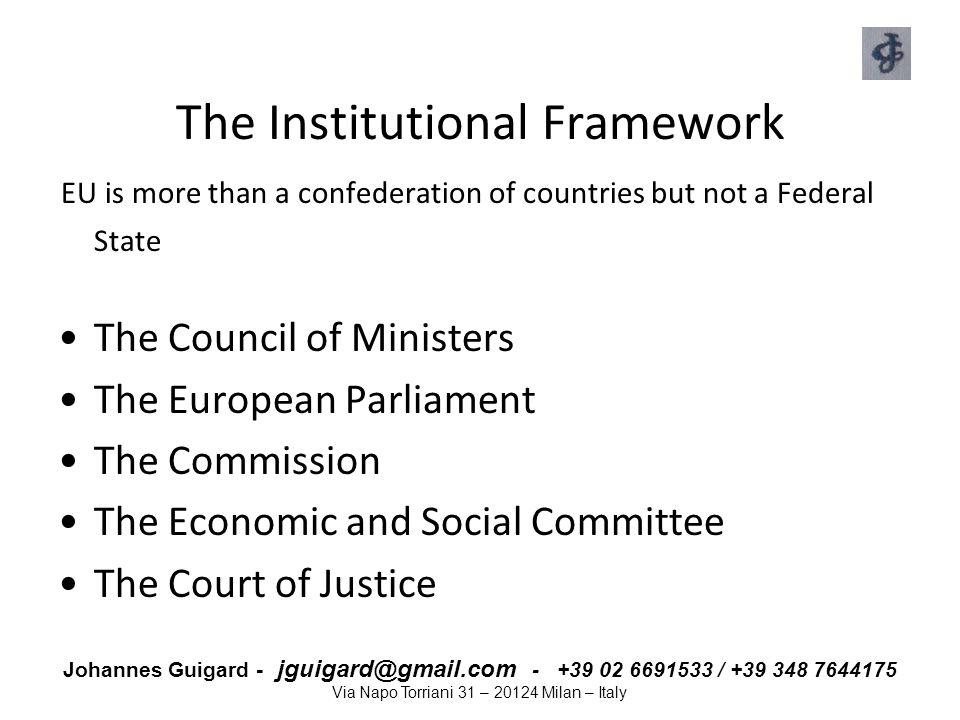 Johannes Guigard - jguigard@gmail.com - +39 02 6691533 / +39 348 7644175 Via Napo Torriani 31 – 20124 Milan – Italy The Institutional Framework EU is