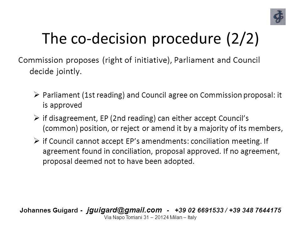 Johannes Guigard - jguigard@gmail.com - +39 02 6691533 / +39 348 7644175 Via Napo Torriani 31 – 20124 Milan – Italy The co-decision procedure (2/2) Co