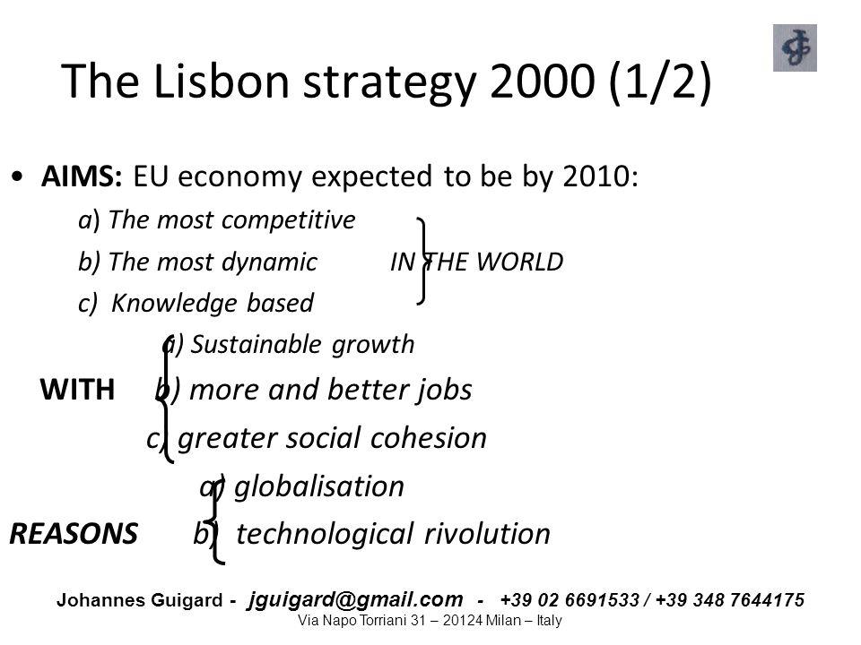 Johannes Guigard - jguigard@gmail.com - +39 02 6691533 / +39 348 7644175 Via Napo Torriani 31 – 20124 Milan – Italy The Lisbon strategy 2000 (1/2) AIM