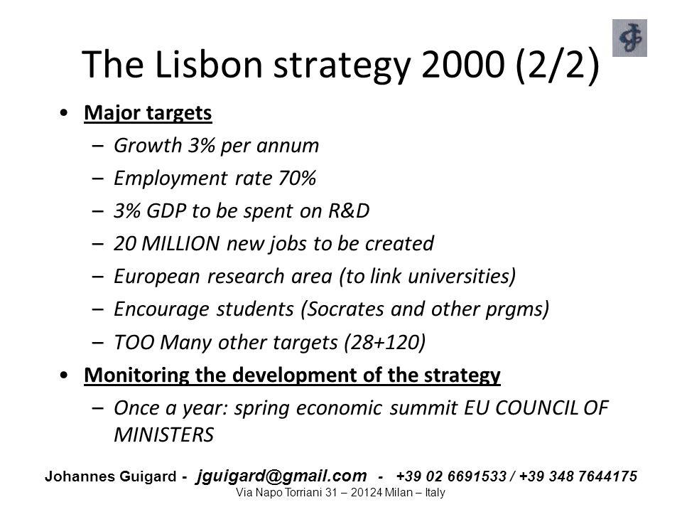 Johannes Guigard - jguigard@gmail.com - +39 02 6691533 / +39 348 7644175 Via Napo Torriani 31 – 20124 Milan – Italy The Lisbon strategy 2000 (2/2 ) Ma
