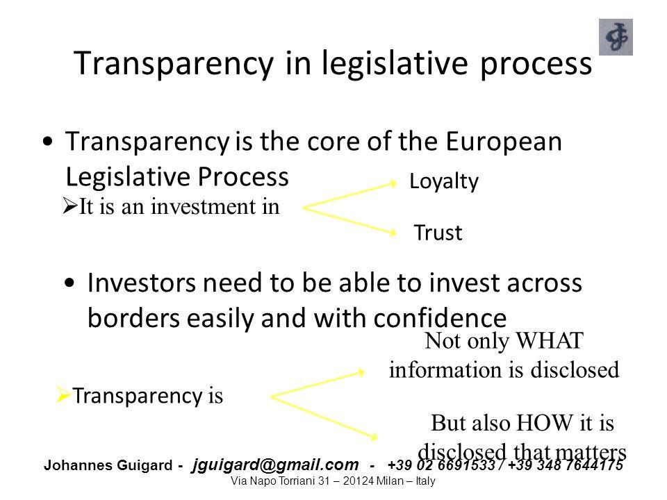 Johannes Guigard - jguigard@gmail.com - +39 02 6691533 / +39 348 7644175 Via Napo Torriani 31 – 20124 Milan – Italy Transparency in legislative proces