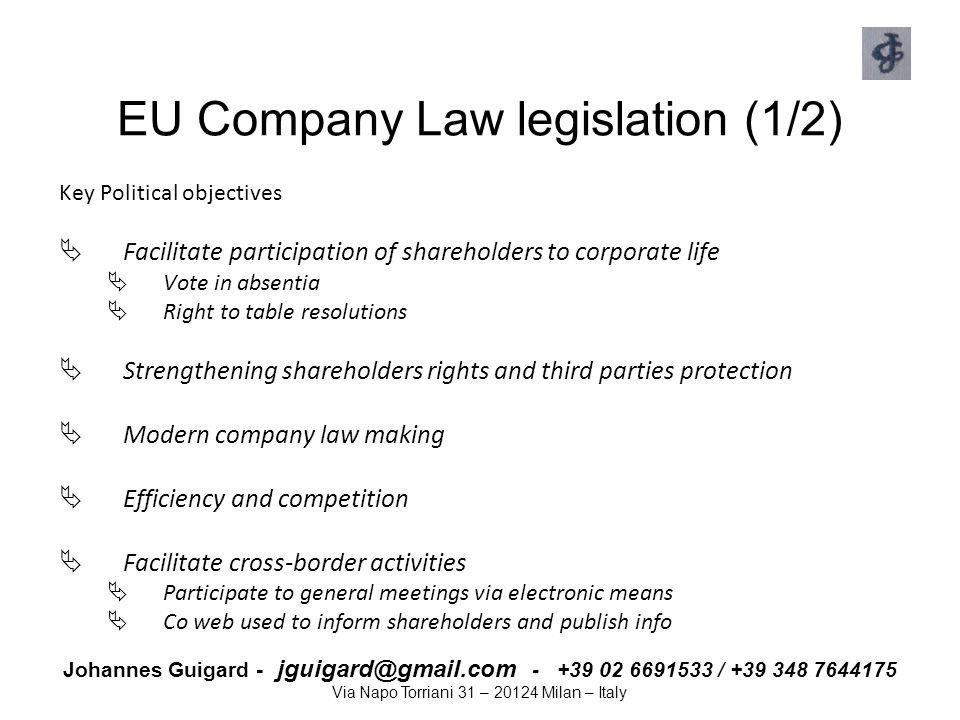 Johannes Guigard - jguigard@gmail.com - +39 02 6691533 / +39 348 7644175 Via Napo Torriani 31 – 20124 Milan – Italy EU Company Law legislation (1/2) K