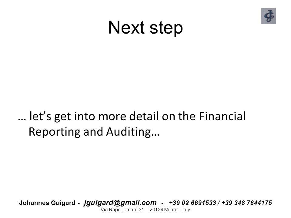 Johannes Guigard - jguigard@gmail.com - +39 02 6691533 / +39 348 7644175 Via Napo Torriani 31 – 20124 Milan – Italy Next step … let's get into more de