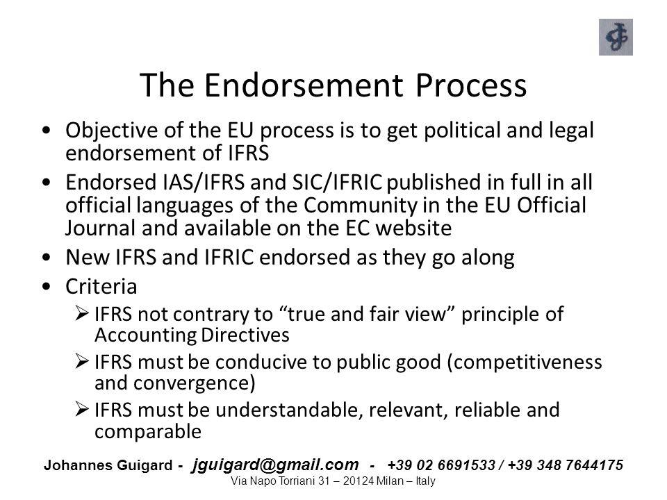 Johannes Guigard - jguigard@gmail.com - +39 02 6691533 / +39 348 7644175 Via Napo Torriani 31 – 20124 Milan – Italy The Endorsement Process Objective