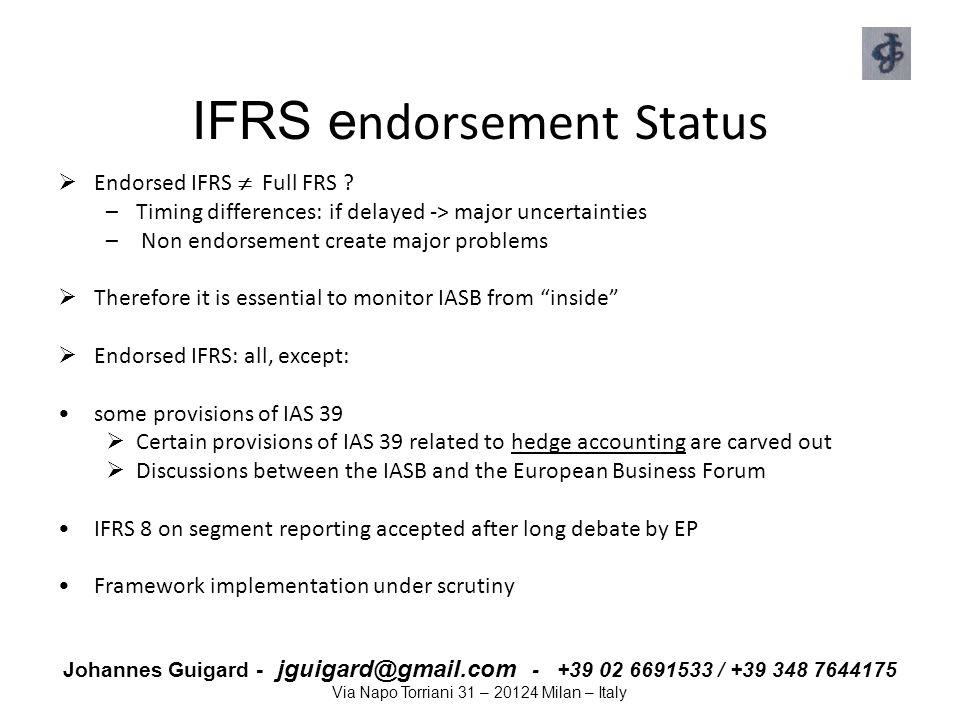 Johannes Guigard - jguigard@gmail.com - +39 02 6691533 / +39 348 7644175 Via Napo Torriani 31 – 20124 Milan – Italy IFRS e ndorsement Status  Endorse