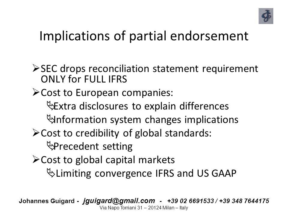 Johannes Guigard - jguigard@gmail.com - +39 02 6691533 / +39 348 7644175 Via Napo Torriani 31 – 20124 Milan – Italy Implications of partial endorsemen