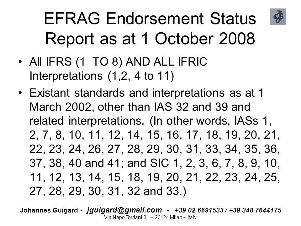 Johannes Guigard - jguigard@gmail.com - +39 02 6691533 / +39 348 7644175 Via Napo Torriani 31 – 20124 Milan – Italy EFRAG Endorsement Status Report as