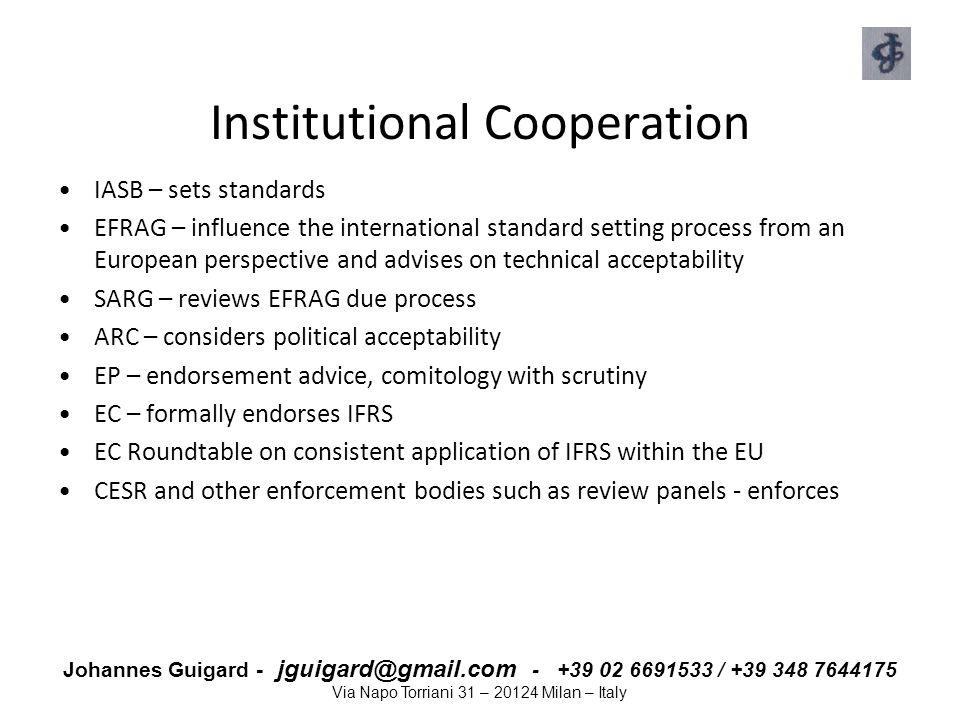 Johannes Guigard - jguigard@gmail.com - +39 02 6691533 / +39 348 7644175 Via Napo Torriani 31 – 20124 Milan – Italy Institutional Cooperation IASB – s