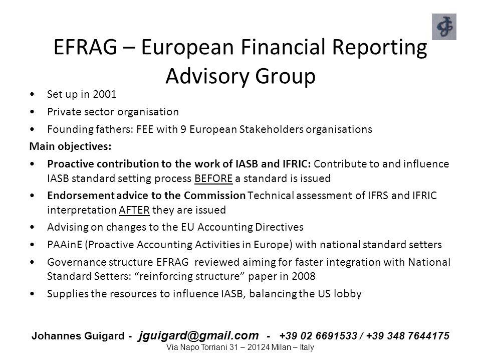 Johannes Guigard - jguigard@gmail.com - +39 02 6691533 / +39 348 7644175 Via Napo Torriani 31 – 20124 Milan – Italy EFRAG – European Financial Reporti