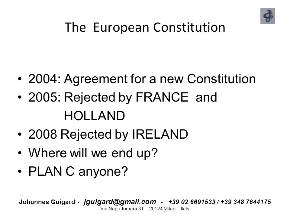 Johannes Guigard - jguigard@gmail.com - +39 02 6691533 / +39 348 7644175 Via Napo Torriani 31 – 20124 Milan – Italy The European Economic and Social Committee It's an advisory body that gives its opinion on EU initiatives Assists EU Commission in adopting detailed technical implementing measures Council and Commission consults EESC in taking decisions in policy areas covered by EC and Euratom treaties Members represent the various interest groups that collectively make up organised civil society .