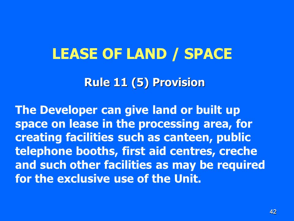 42 LEASE OF LAND / SPACE Rule 11 (5) Provision The Developer can give land or built up space on lease in the processing area, for creating facilities
