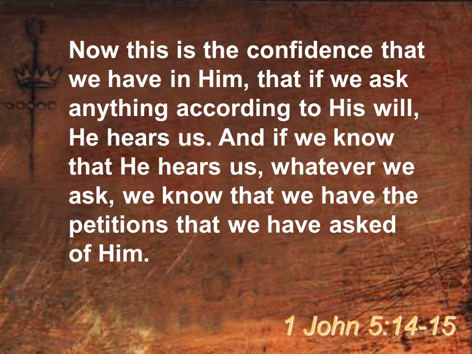 Now this is the confidence that we have in Him, that if we ask anything according to His will, He hears us. And if we know that He hears us, whatever