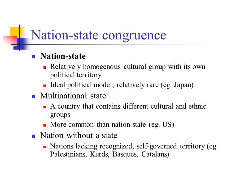 Nation-state congruence Nation-state Relatively homogenous cultural group with its own political territory Ideal political model; relatively rare (eg.