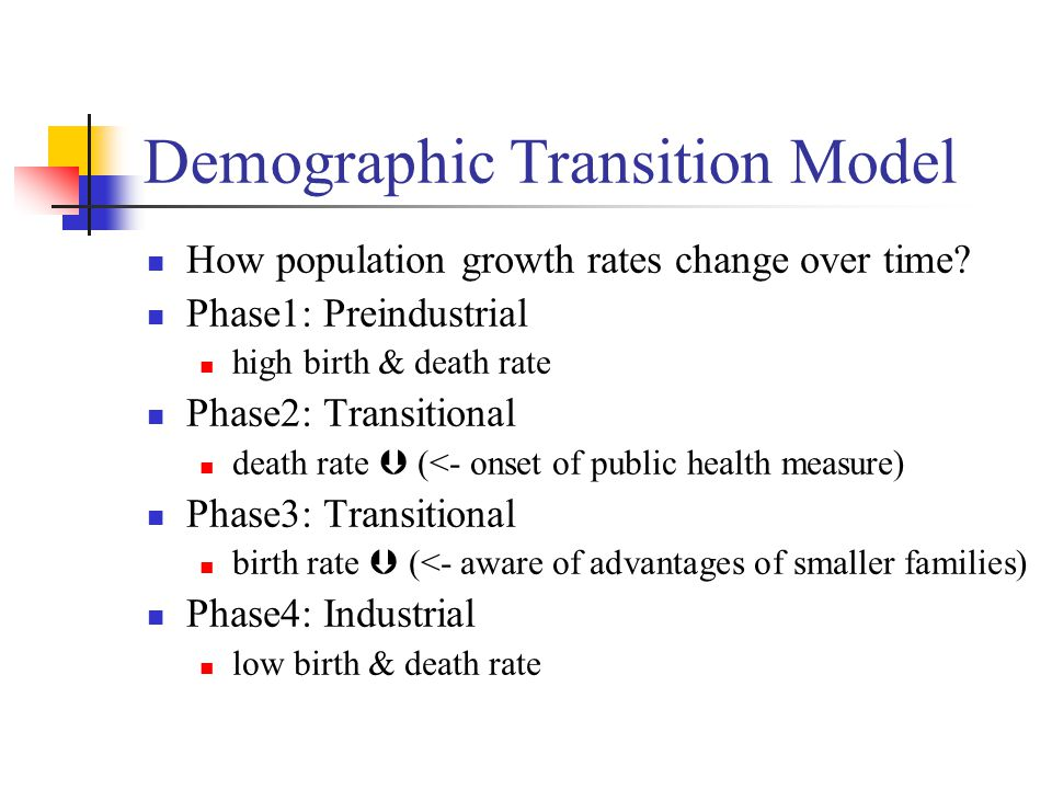 Demographic Transition Model How population growth rates change over time.