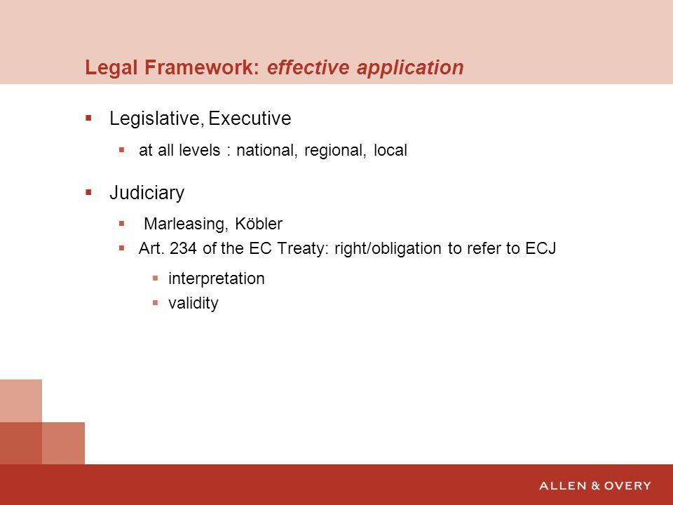 Legal Framework: effective application  Legislative, Executive  at all levels : national, regional, local  Judiciary  Marleasing, Köbler  Art.