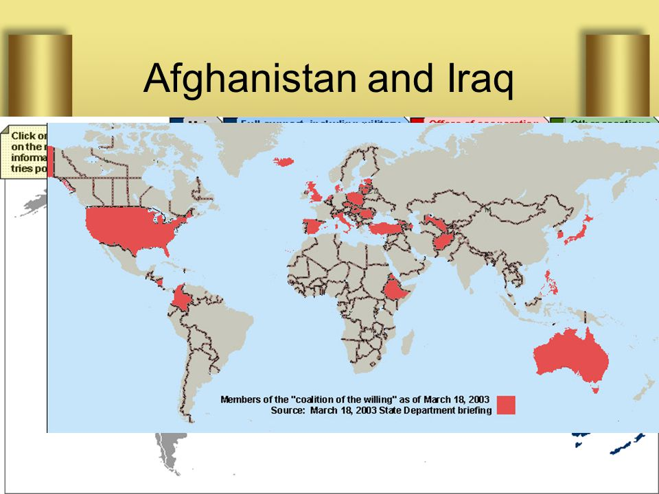 Afghanistan and Iraq In Afghanistan, NATO invoked Clause 5; the US did not respond Instead it built a Coalition of all sorts of unlikely places In Ira