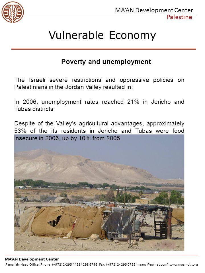 MA'AN Development Center Palestine Vulnerable Economy MA'AN Development Center Ramallah Head Office, Phone: (+972) 2-295 4451/ 298 6796, Fax: (+972) 2- 295 0755.