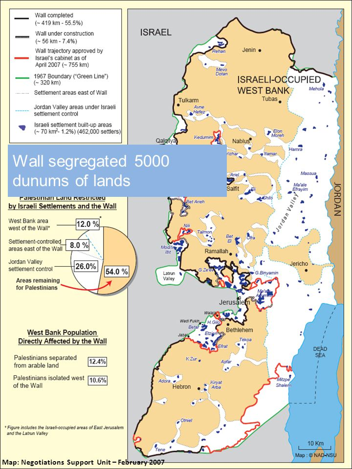 Map: Negotiations Support Unit – February 2007 Total settlements in JV = 36 Total # settlers in JV = 6,200 In 2003, part of the eastern Wall was built from the Jordan River (east) to Matalla village of Jenin (west) Wall segregated 5000 dunums of lands