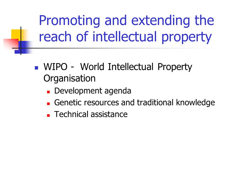 Promoting and extending the reach of intellectual property WIPO - World Intellectual Property Organisation Development agenda Genetic resources and traditional knowledge Technical assistance