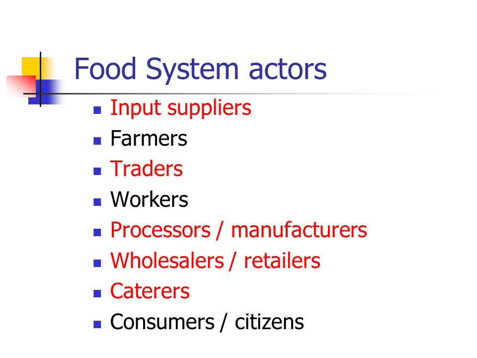 Food system basics Biological - ecological History Human needs physiological psychological social cultural