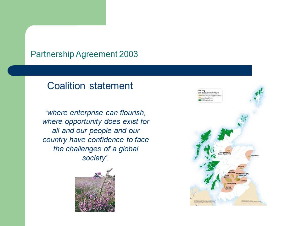 Partnership Agreement 2003 Coalition statement 'where enterprise can flourish, where opportunity does exist for all and our people and our country hav