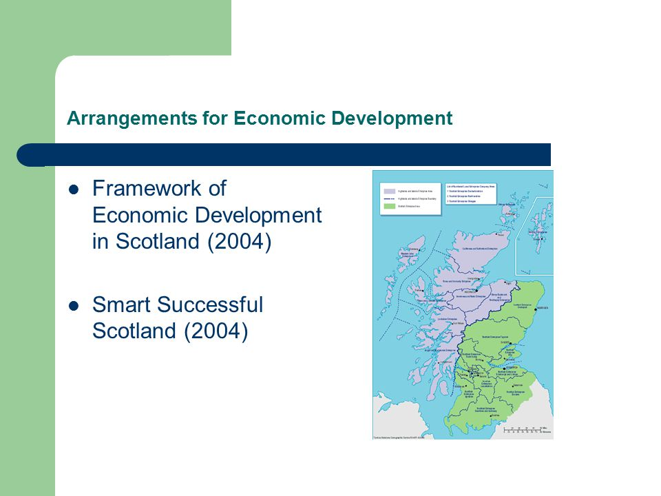 Arrangements for Economic Development Framework of Economic Development in Scotland (2004) Smart Successful Scotland (2004)